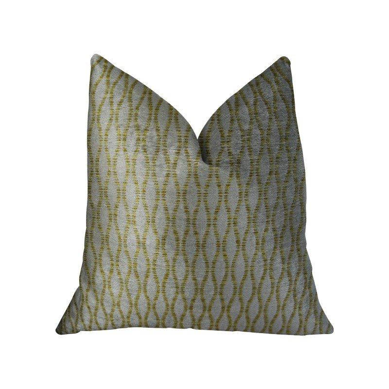 "Plutus Brands Swan Creek Cream and Gold Handmade Luxury Pillow 22"" x 22"" (PBRAZ305-2222-DP)"
