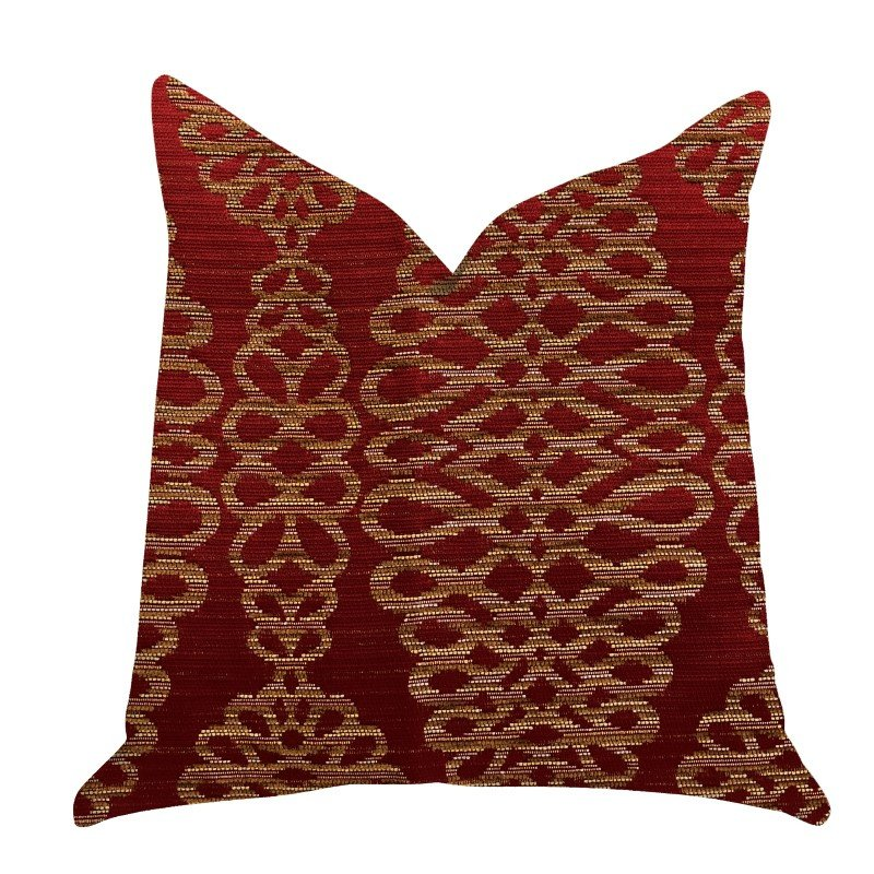 "Plutus Brands Sweet Henna Luxury Throw Pillow in Red and Gold Pillows 20"" x 30"" Queen (PBRA1380-2030-DP)"