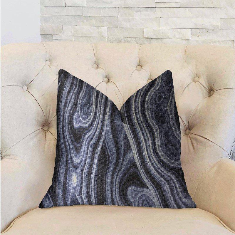 "Plutus Brands Swiss Marble Blue Luxury Throw Pillow 18"" x 18"" (PBRA2217-1818-DP)"