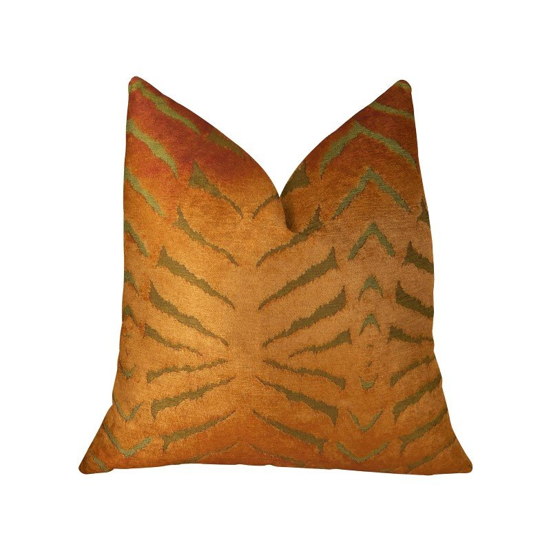 """Plutus Brands Tangerine Bliss Orange Handmade Luxury Pillow 18"""" x 18"""" (PBRAZ247-1818-DP)"""