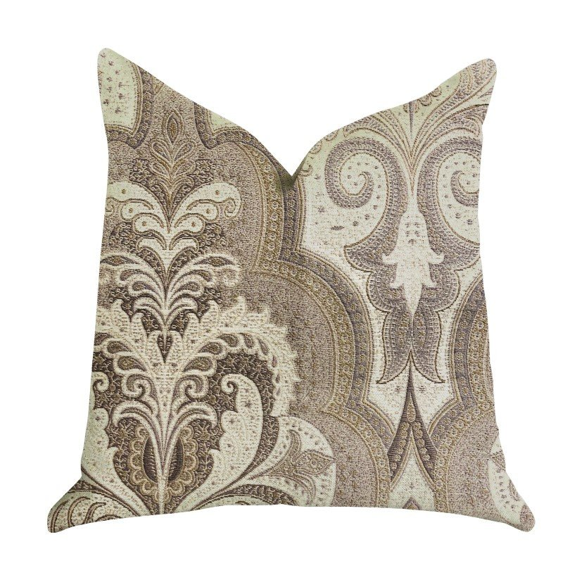 "Plutus Brands Tawny Isabella Damask Luxury Throw Pillow 24"" x 24"" (PBRA1338-2424-DP)"