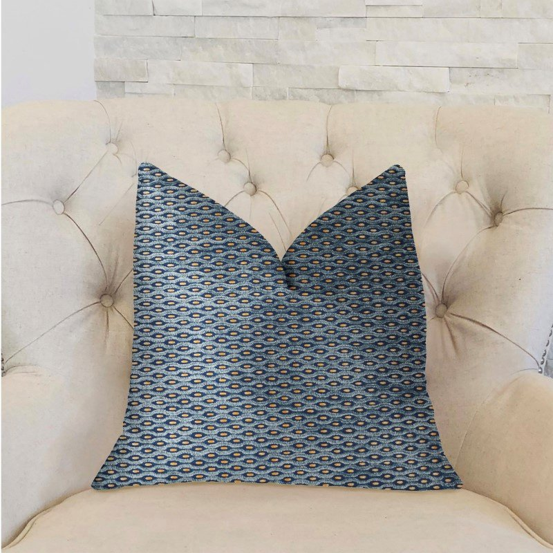 """Plutus Brands Teal Abyss Blue and Gold Luxury Throw Pillow 26"""" x 26"""" (PBRA2307-2626-DP)"""