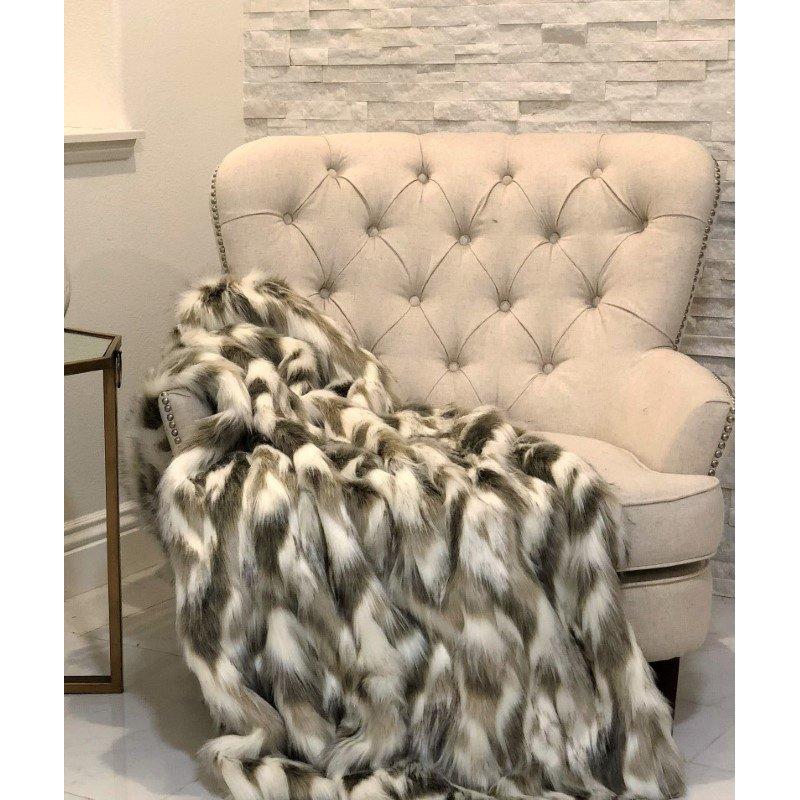 "Plutus Brands Tibet Faux Fox Handmade Luxury Throw Blanket 114""L x 120""W King (PBSF1405-114x120)"