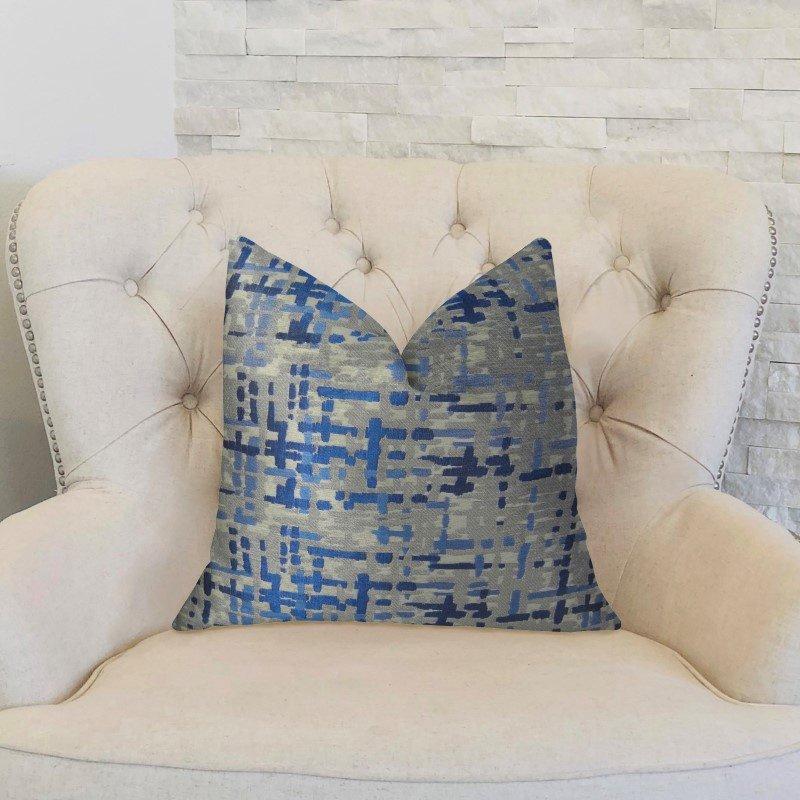 "Plutus Brands Tierra Monte Plaid Navy Blue and Gray Handmade Luxury Pillow 18"" x 18"" (PBRAZ234-1818-DP)"