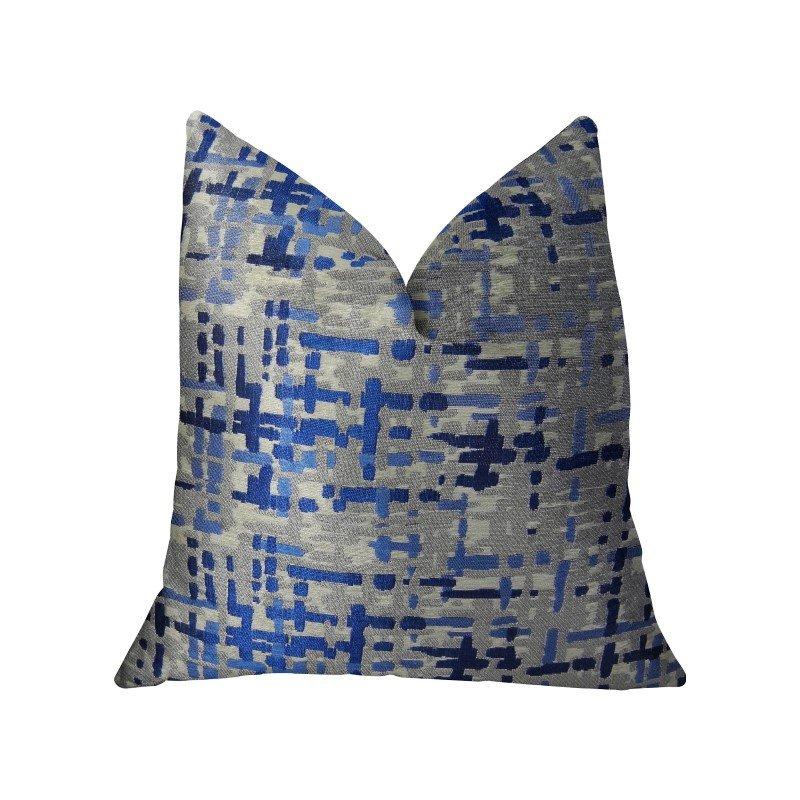 "Plutus Brands Tierra Monte Plaid Navy Blue and Gray Handmade Luxury Pillow 26"" x 26"" (PBRAZ234-2626-DP)"