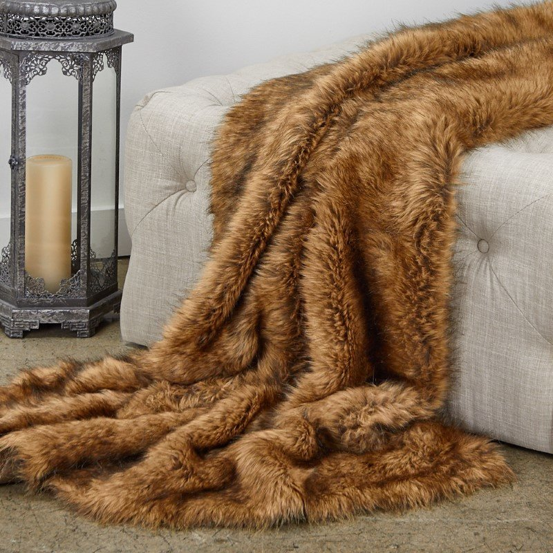 "Plutus Brands Tip Dyed Fox Faux Fur Luxury Throw Blanket 80""L x 90""W Twin XL (PBEZ1786-8090-TC)"