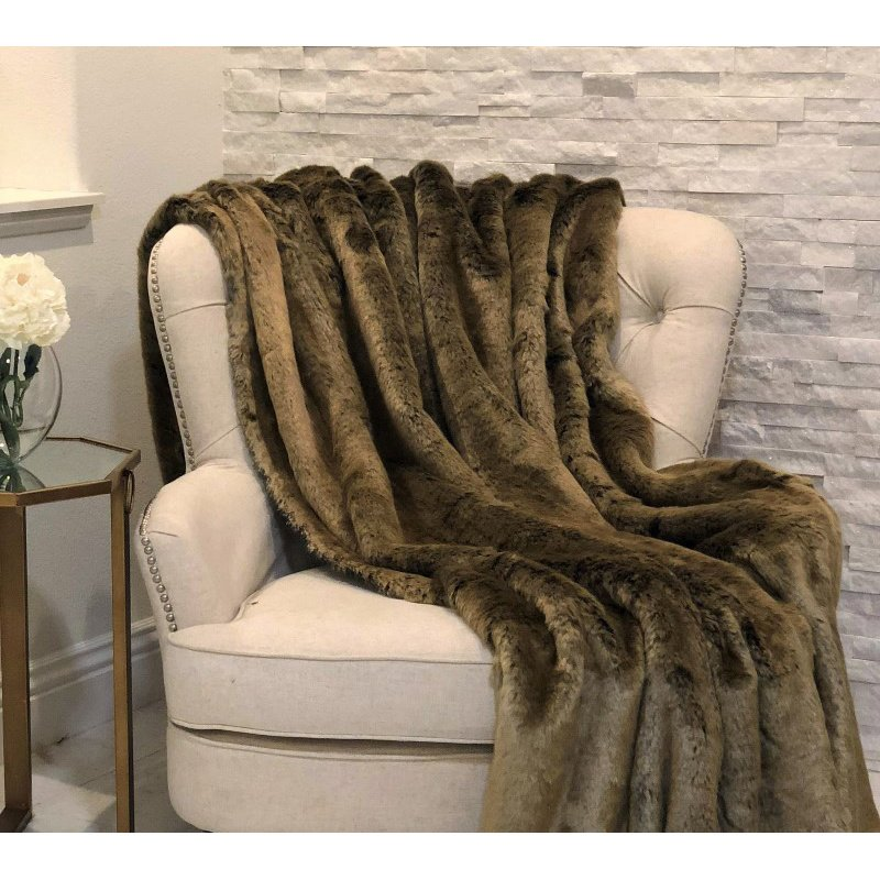"Plutus Brands Tissavel Volga Rabbit Faux Fur Handmade Luxury Throw Blanket 102""L x 116""W California King (PBSF1446-102x116)"