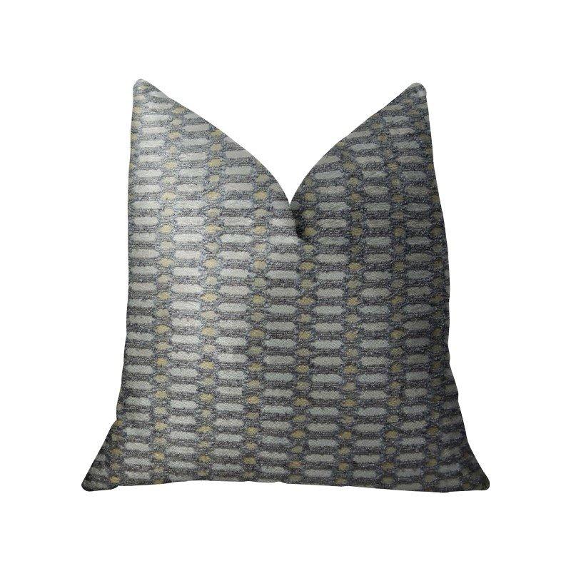 "Plutus Brands Trivoli Circle Gray and Cream Handmade Luxury Pillow 18"" x 18"" (PBRAZ223-1818-DP)"