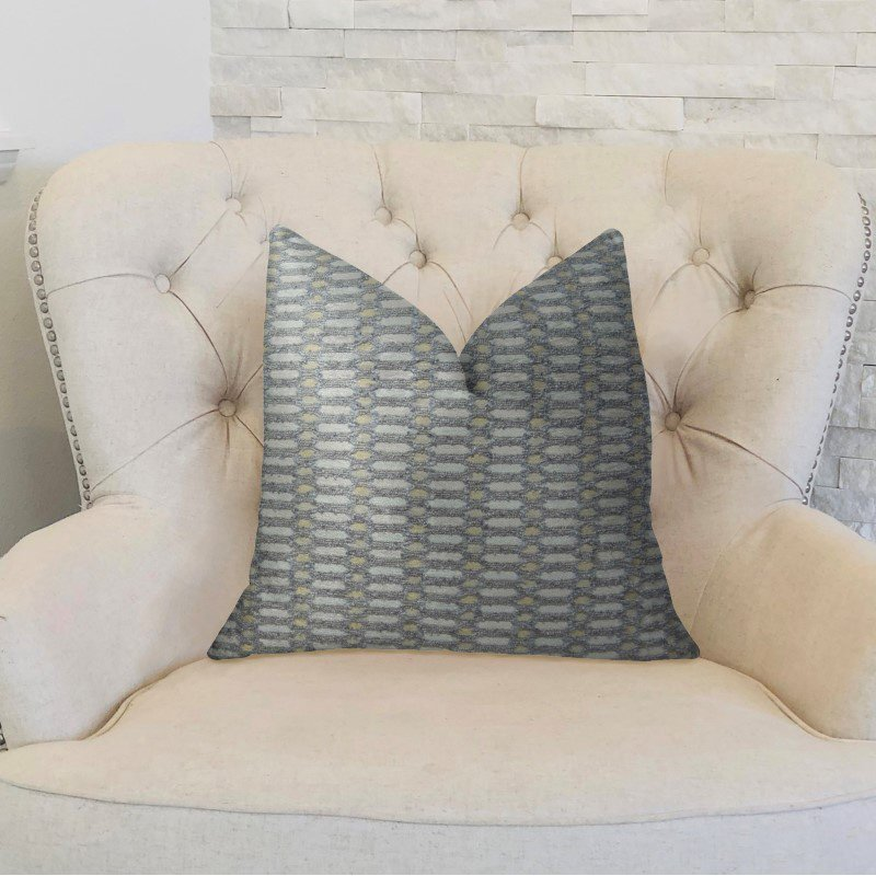 "Plutus Brands Trivoli Circle Gray and Cream Handmade Luxury Pillow 20"" x 36"" King (PBRAZ223-2036-DP)"