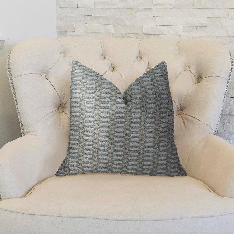 "Plutus Brands Trivoli Circle Gray and Cream Handmade Luxury Pillow 22"" x 22"" (PBRAZ223-2222-DP)"