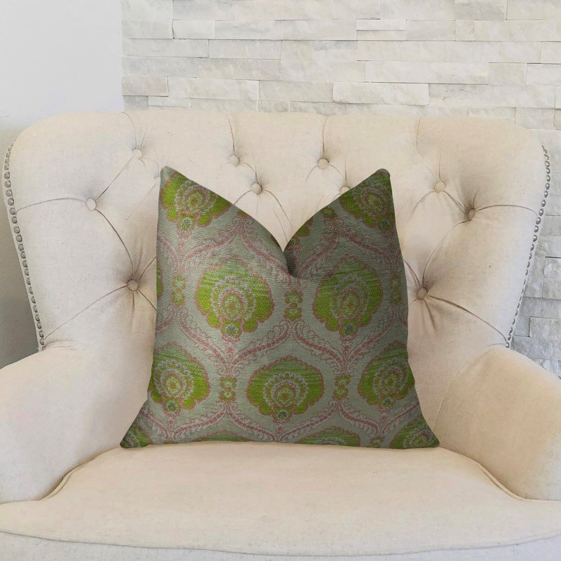 "Plutus Brands Tulip Garden Pink and Green Handmade Luxury Pillow 20"" x 20"" (PBRAZ060-2020-DP)"
