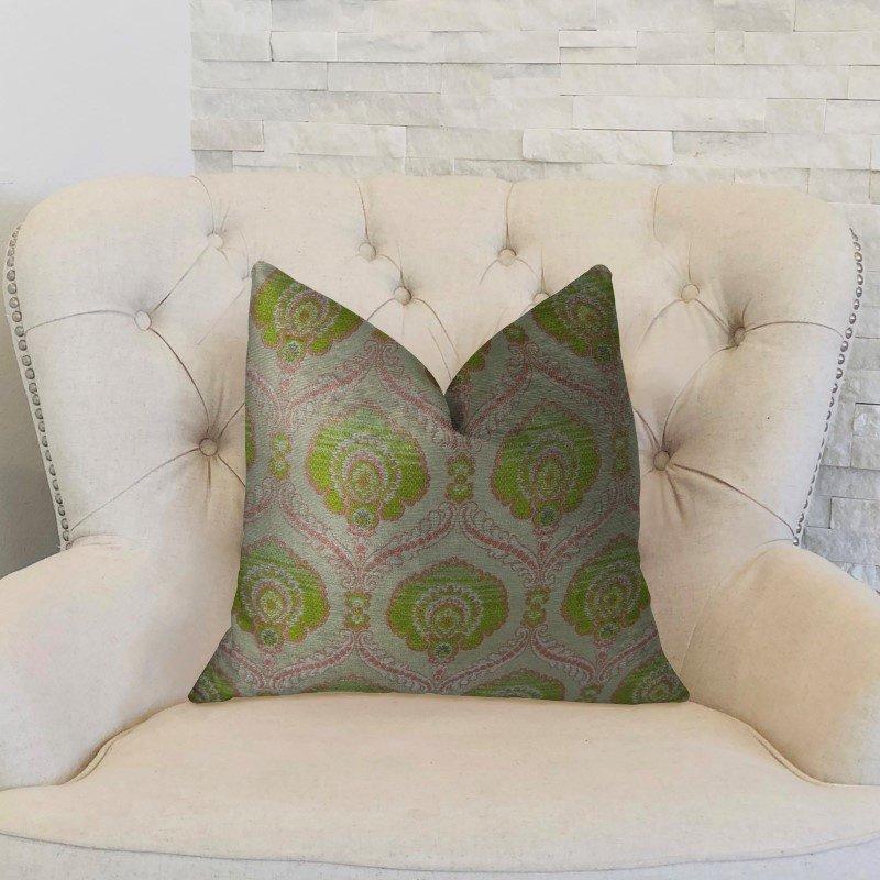 "Plutus Brands Tulip Garden Pink and Green Handmade Luxury Pillow 22"" x 22"" (PBRAZ060-2222-DP)"