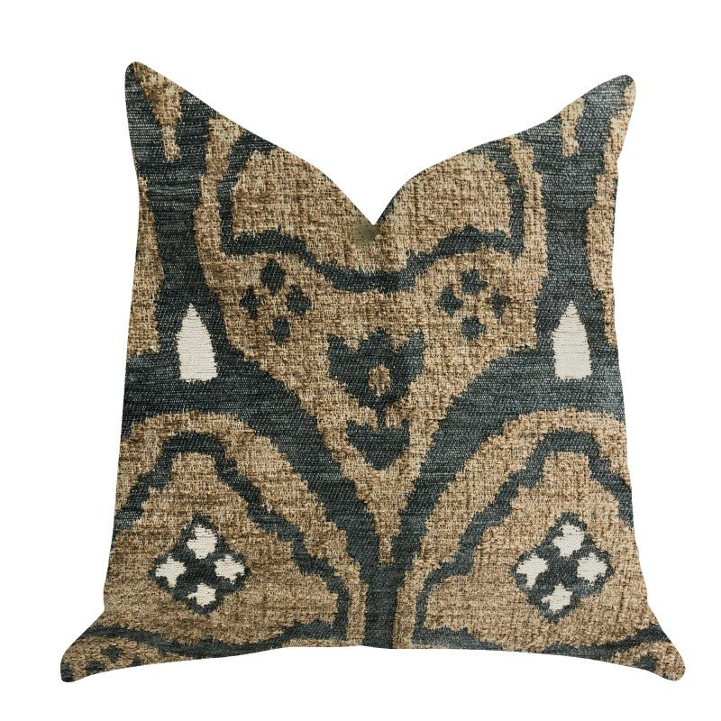 "Plutus Brands Tulip Zen Green Taupe Luxury Throw Pillow 12"" x 25"" (PBRA1343-1225-DP)"