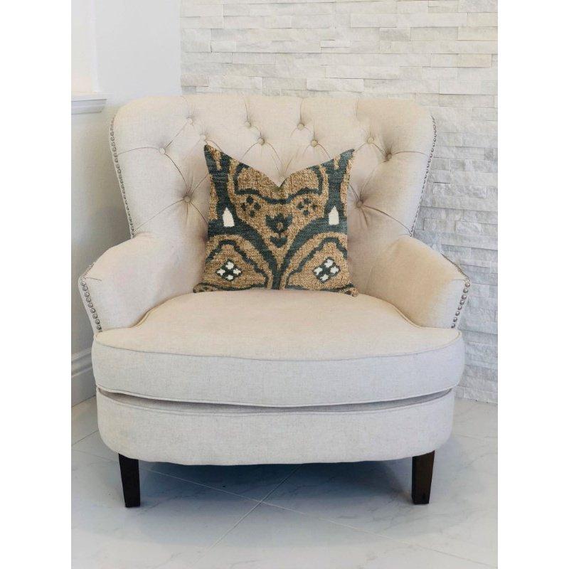 "Plutus Brands Tulip Zen Green Taupe Luxury Throw Pillow 20"" x 36"" King (PBRA1343-2036-DP)"