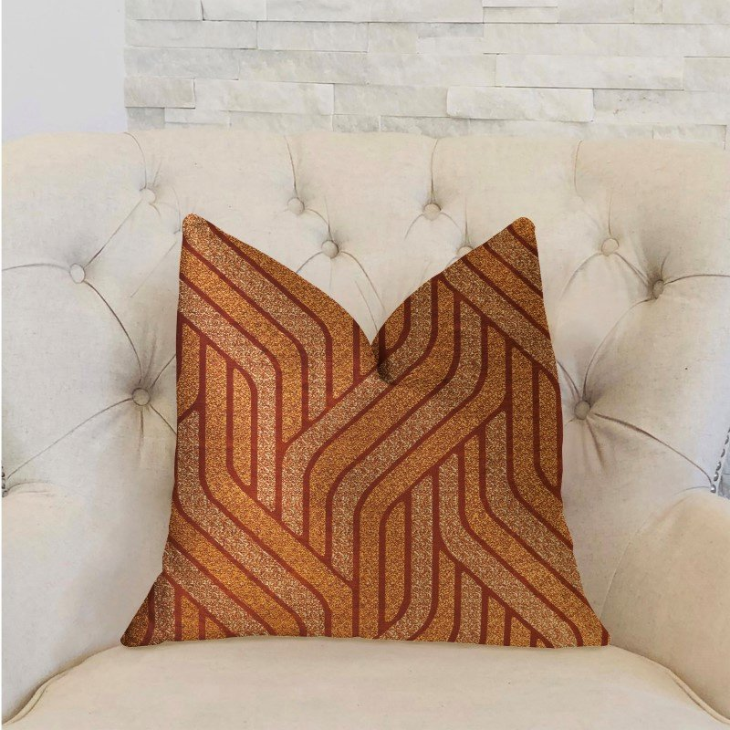 """Plutus Brands Twin Overpass Orange Luxury Throw Pillow 18"""" x 18"""" (PBRA2303-1818-DP)"""