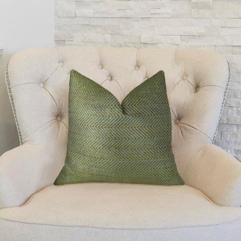 "Plutus Brands Upland Light Green and Ivory Handmade Luxury Pillow 18"" x 18"" (PBRAZ356-1818-DP)"