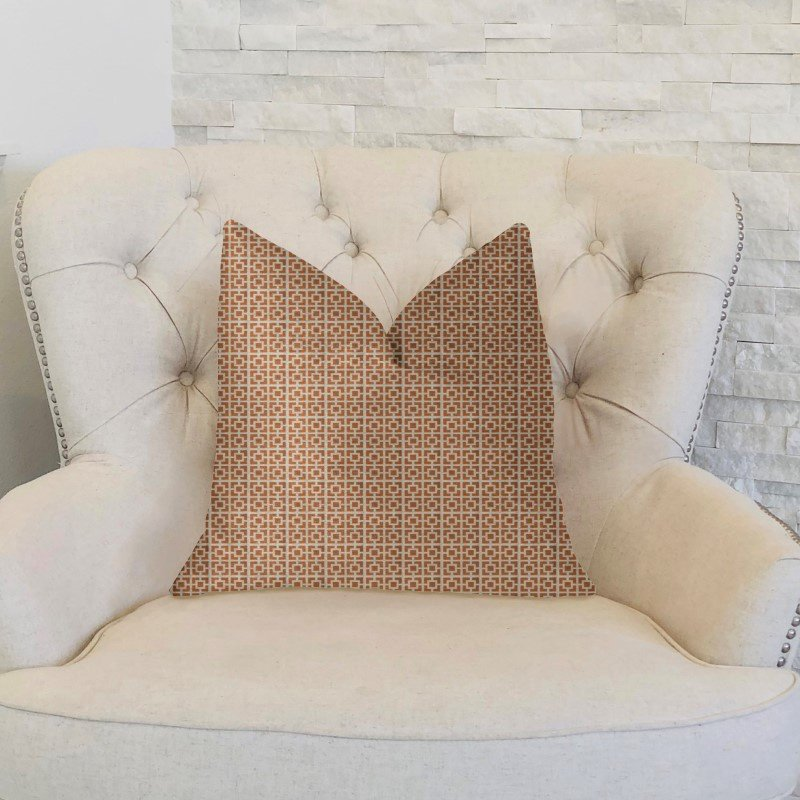"Plutus Brands Uptown Orange and Ivory Luxury Throw Pillow 20"" x 30"" Queen (PBKR1953-2030-DP)"