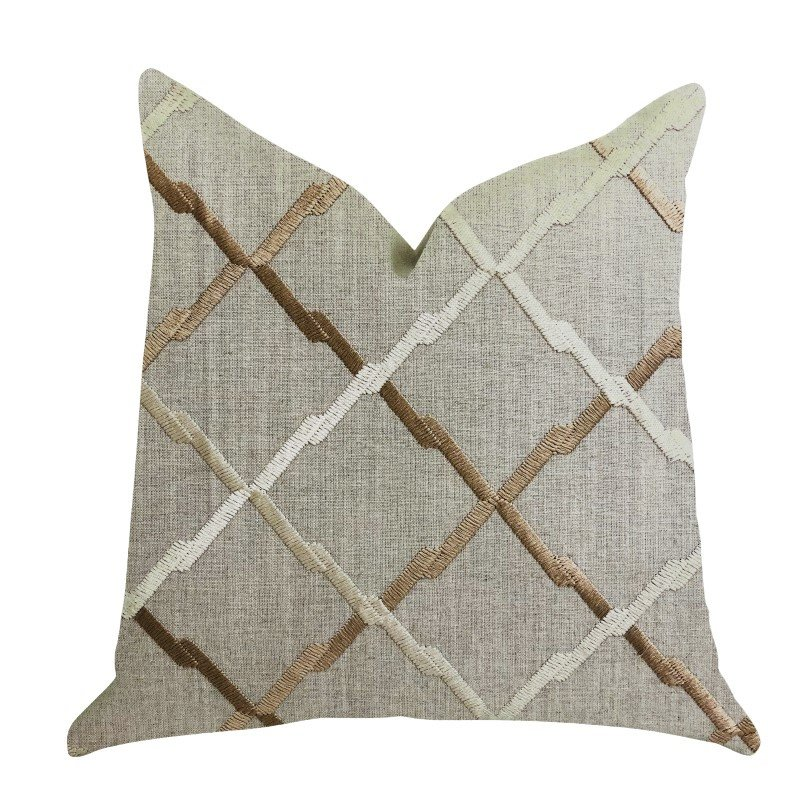 """Plutus Brands Urban Square Brown and Beige Luxury Throw Pillow 16"""" x 16"""" (PBRA1355-1616-DP)"""