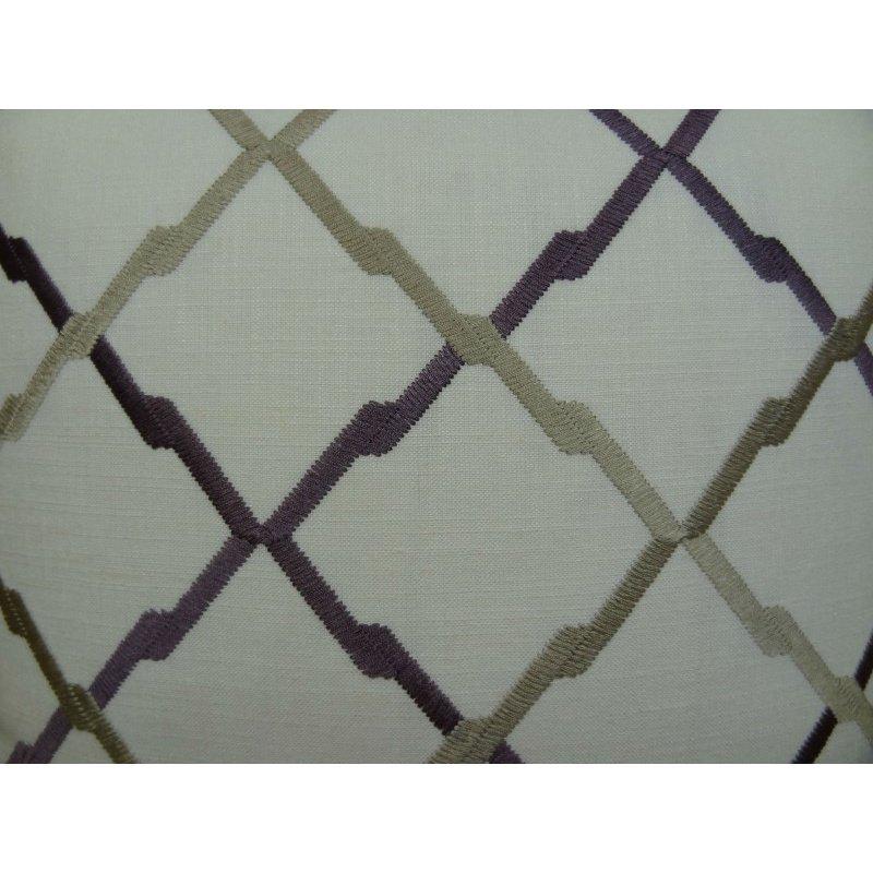 "Plutus Brands Valencia White Purple and Taupe Handmade Luxury Pillow 16"" x 16"" (PBRAZ180-1616-DP)"
