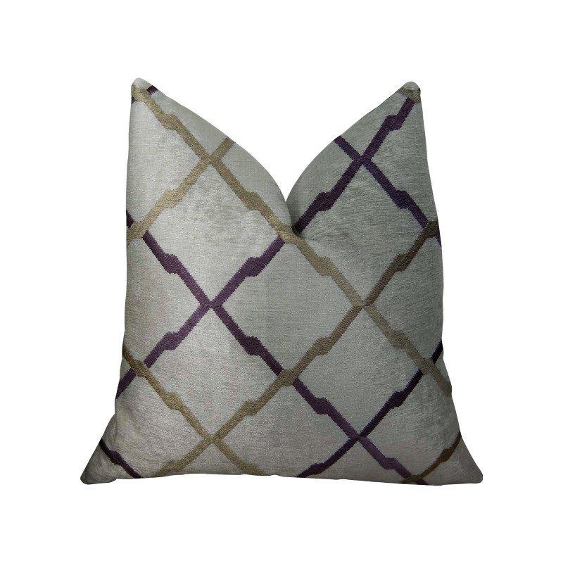 "Plutus Brands Valencia White Purple and Taupe Handmade Luxury Pillow 20"" x 36"" King (PBRAZ180-2036-DP)"