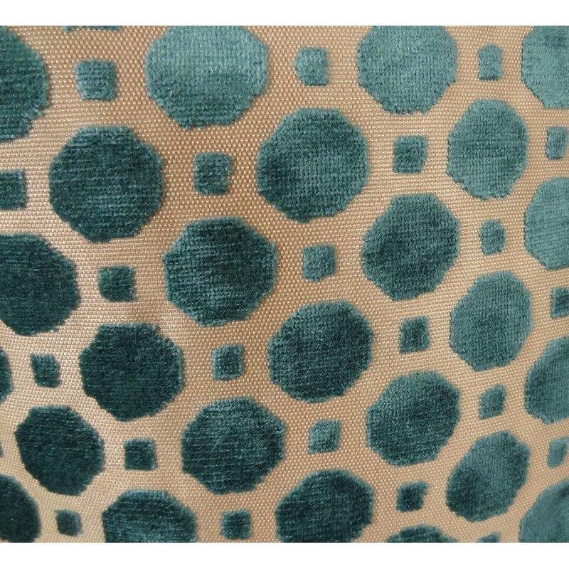 "Plutus Brands Velvet Aquamarine Turquoise and Taupe Handmade Luxury Pillow 16"" x 16"" (PBRAZ364-1616-DP)"