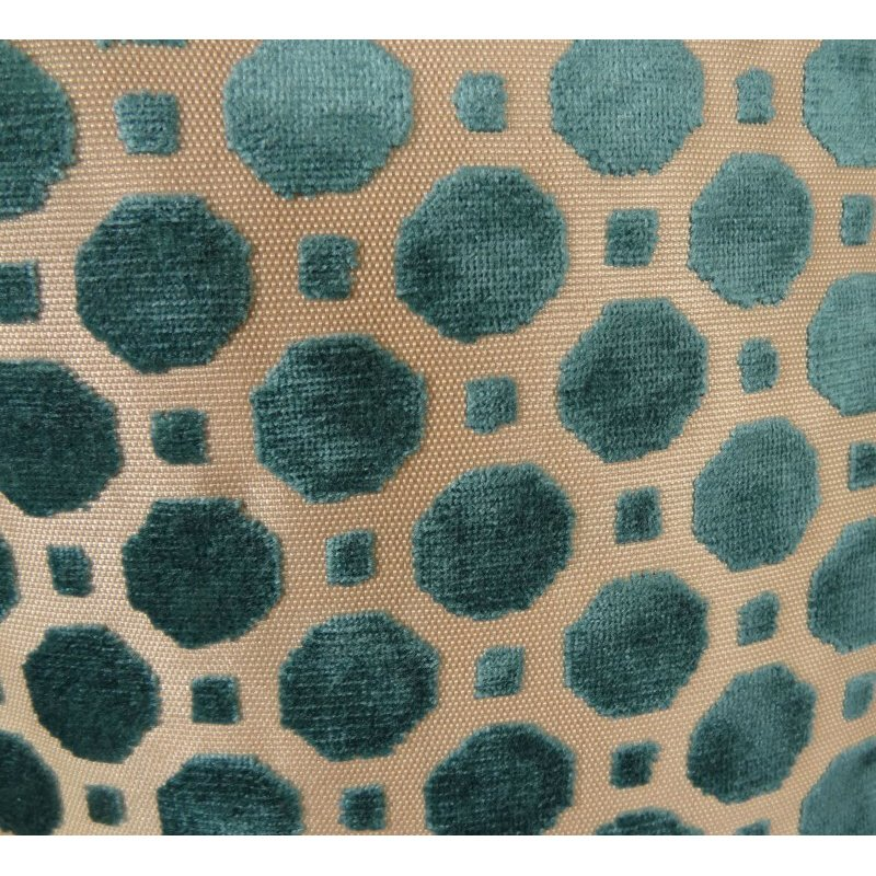 "Plutus Brands Velvet Aquamarine Turquoise and Taupe Handmade Luxury Pillow 20"" x 20"" (PBRAZ364-2020-DP)"