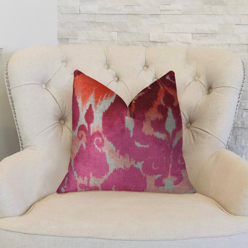 "Plutus Brands Velvet Grayce Fuchsia Coral and Cream Handmade Luxury Pillow 16"" x 16"" (PBRAZ366-1616-DP)"
