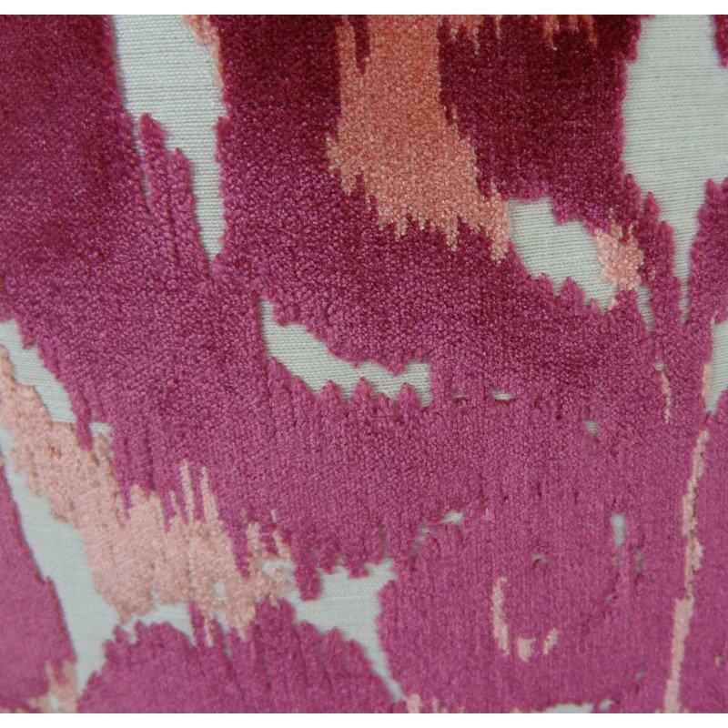 "Plutus Brands Velvet Grayce Fuchsia Coral and Cream Handmade Luxury Pillow 22"" x 22"" (PBRAZ366-2222-DP)"