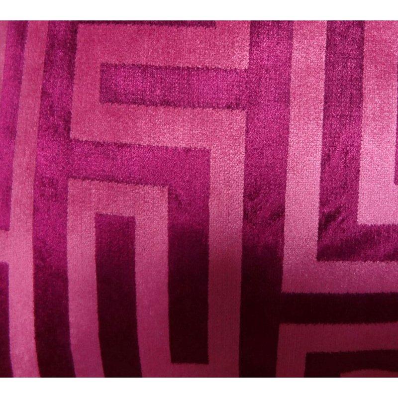 """Plutus Brands Velvet Maze Runner Fuchsia Handmade Luxury Pillow 18"""" x 18"""" (PBRAZ193-1818-DP)"""