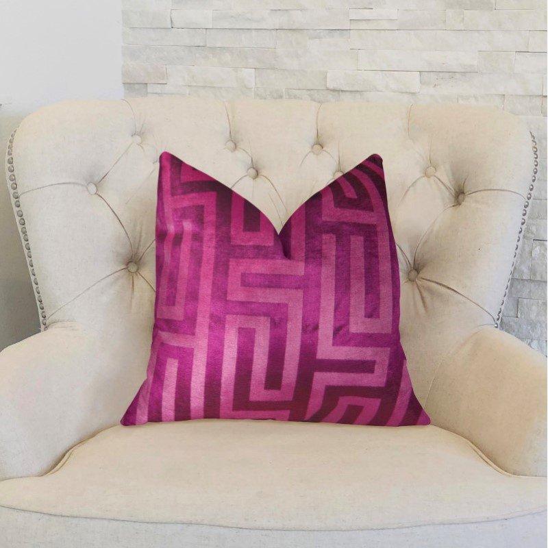 """Plutus Brands Velvet Maze Runner Fuchsia Handmade Luxury Pillow 26"""" x 26"""" (PBRAZ193-2626-DP)"""