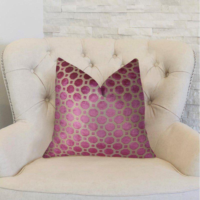 "Plutus Brands Velvet Plum Magenta and Taupe Handmade Luxury Pillow 12"" x 20"" (PBRAZ367-1220-DP)"