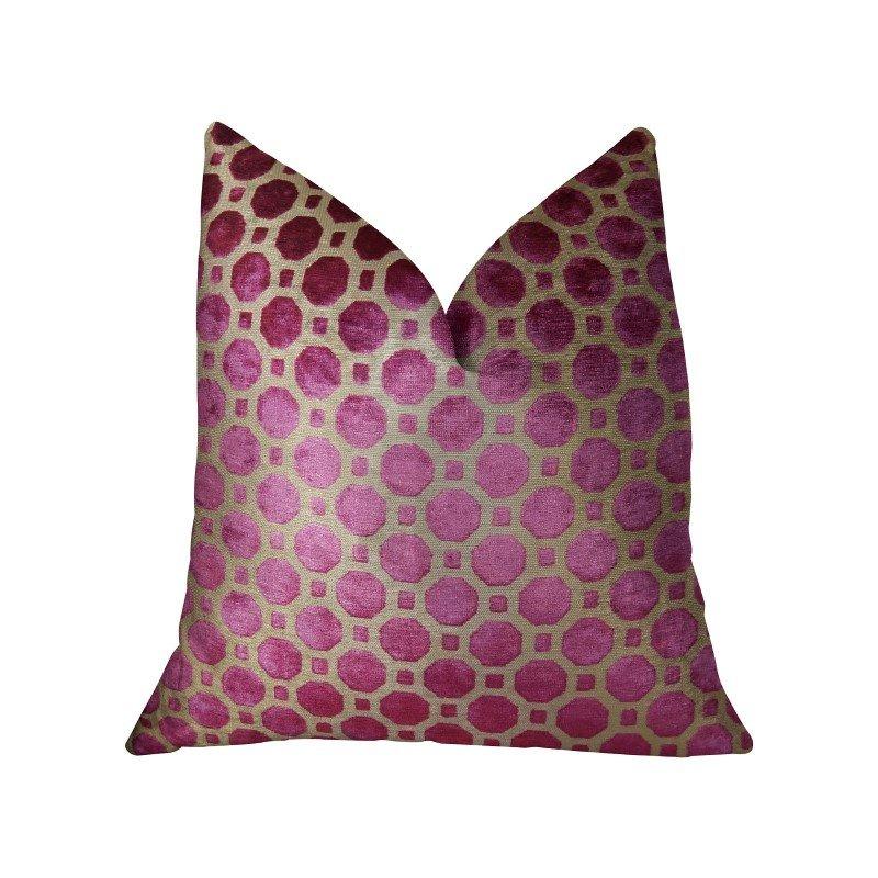 "Plutus Brands Velvet Plum Magenta and Taupe Handmade Luxury Pillow 16"" x 16"" (PBRAZ367-1616-DP)"