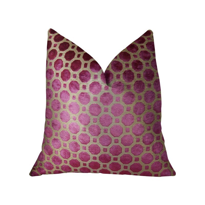 "Plutus Brands Velvet Plum Magenta and Taupe Handmade Luxury Pillow 20"" x 30"" Queen (PBRAZ367-2030-DP)"