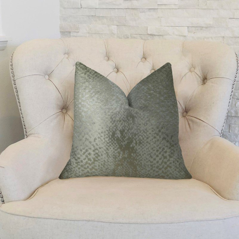 "Plutus Brands Venetian Silver Handmade Luxury Pillow 16"" x 16"" (PBRAZ370-1616-DP)"