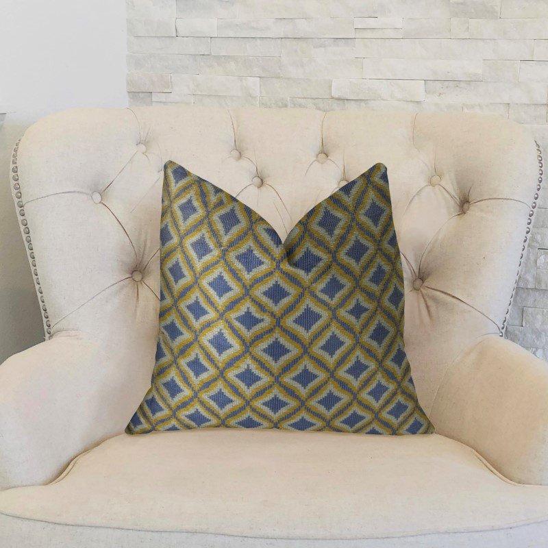 "Plutus Brands Verdana Diamond Lavender White and Yellow Handmade Luxury Pillow 20"" x 36"" King (PBRAZ070-2036-DP)"