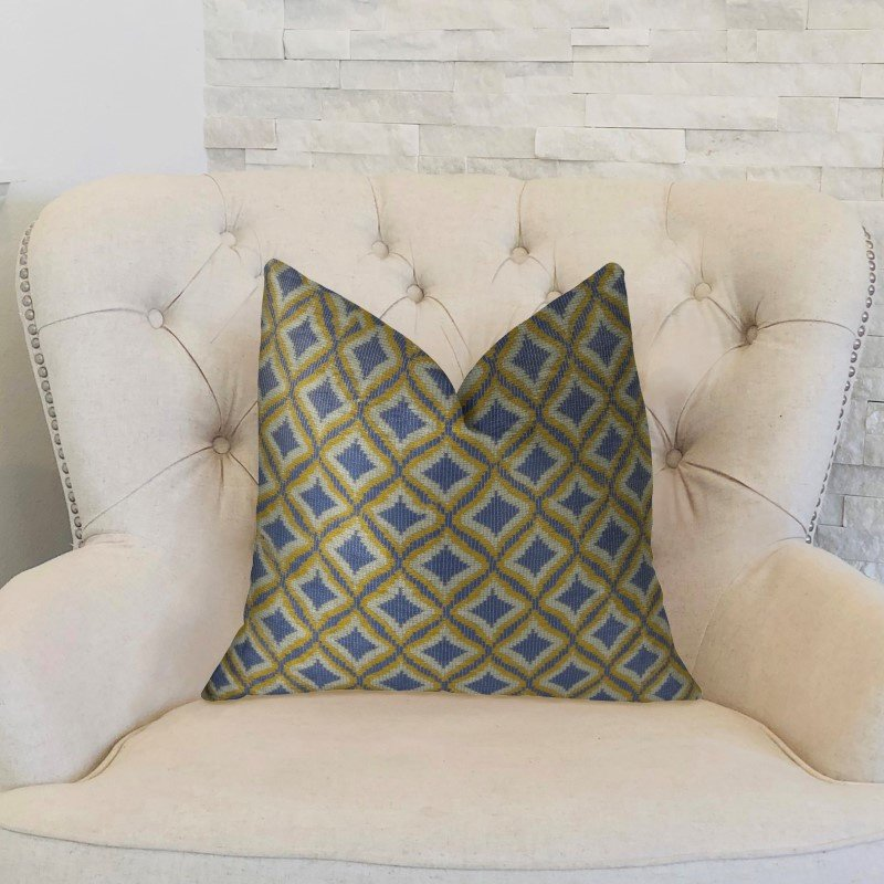 "Plutus Brands Verdana Diamond Lavender White and Yellow Handmade Luxury Pillow 24"" x 24"" (PBRAZ070-2424-DP)"