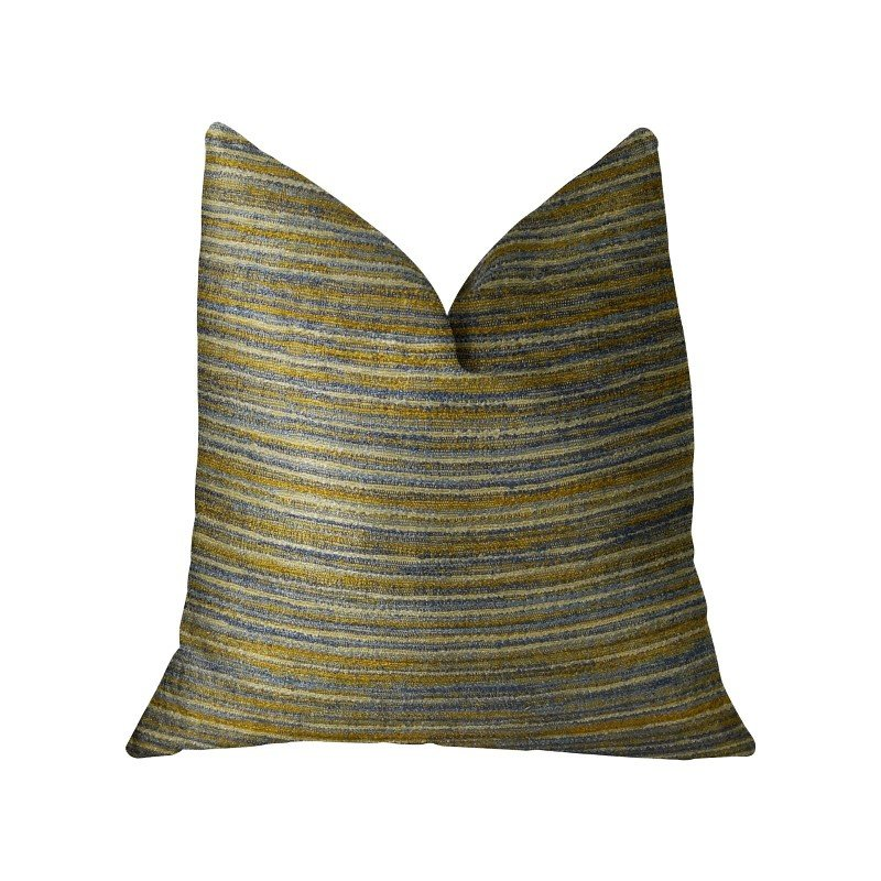 """Plutus Brands Vermont Blue and Taupe Handmade Luxury Pillow 18"""" x 18"""" (PBRAZ079-1818-DP)"""