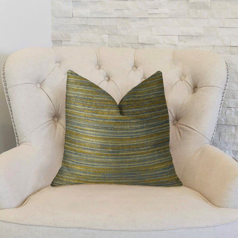 """Plutus Brands Vermont Blue and Taupe Handmade Luxury Pillow 24"""" x 24"""" (PBRAZ079-2424-DP)"""