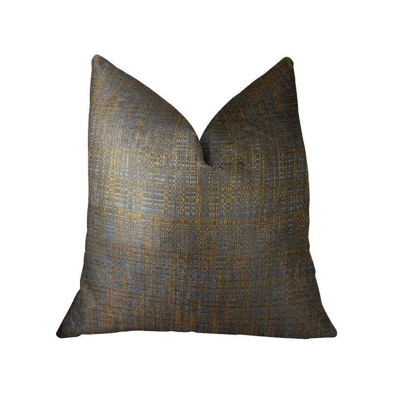 "Plutus Brands Vibrant Tazanite Blue and Brown Handmade Luxury Pillow 24"" x 24"" (PBRAZ089-2424-DP)"
