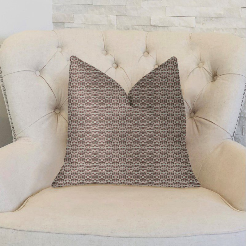 """Plutus Brands Viva Red Link Red and Beige Luxury Throw Pillow 22"""" x 22"""" (PBKR1989-2222-DP)"""