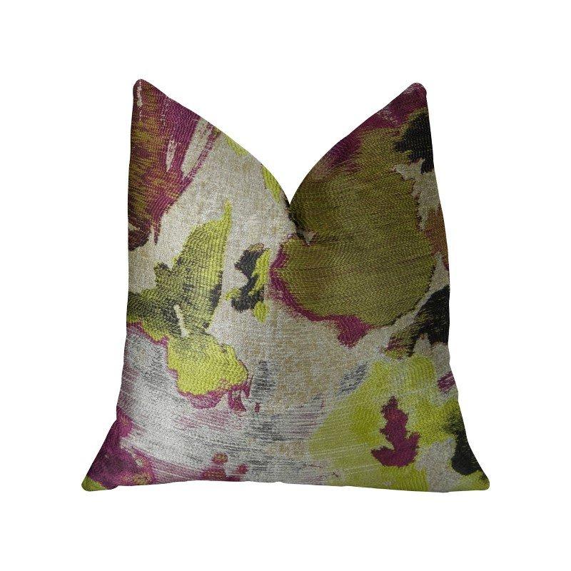 "Plutus Brands Water Lily Fuchsia Magenta and Citrine Handmade Luxury Pillow 18"" x 18"" (PBRAZ371-1818-DP)"