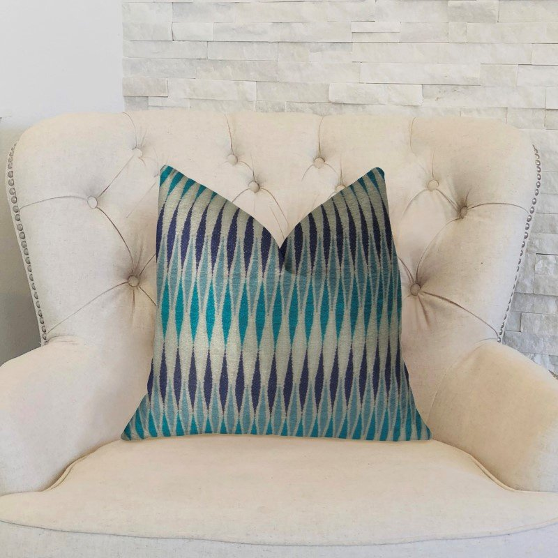 "Plutus Brands Wavering Blues Navy Blue and White Handmade Luxury Pillow 16"" x 16"" (PBRAZ322-1616-DP)"