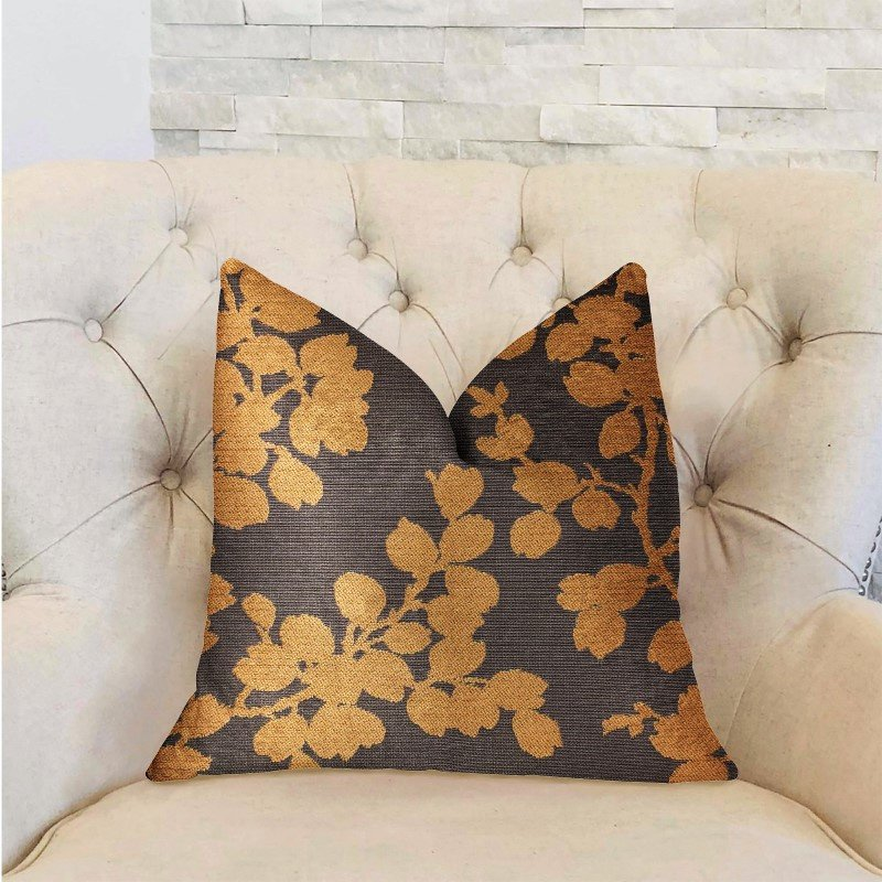 """Plutus Brands Whispering Willow Gold and Gray Luxury Throw Pillow 22"""" x 22"""" (PBRA2296-2222-DP)"""