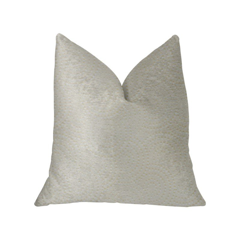"Plutus Brands White Dove White Artificial Leather Luxury Throw Pillow 20"" x 30"" Queen (PBKR1960-2030-DP)"
