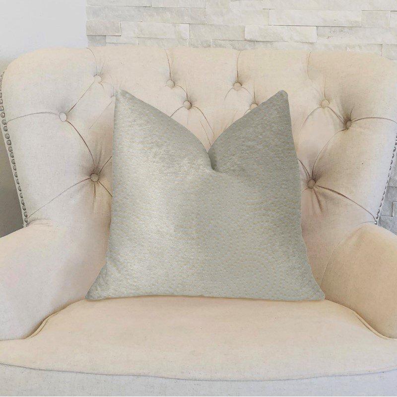 """Plutus Brands White Dove White Artificial Leather Luxury Throw Pillow 26"""" x 26"""" (PBKR1960-2626-DP)"""