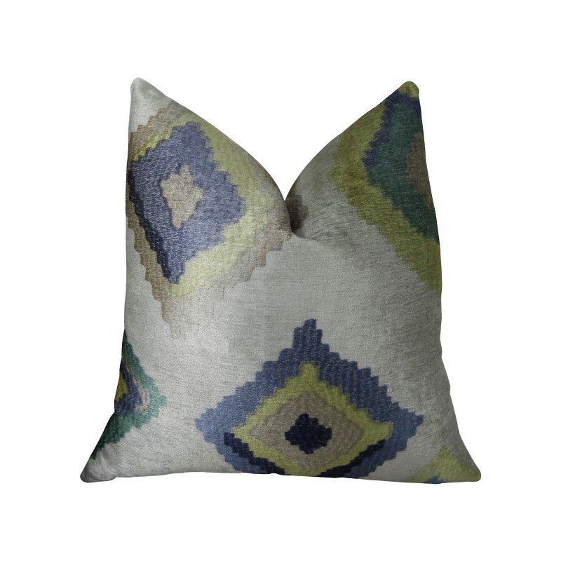 "Plutus Brands White Navy and Lime Handmade Luxury Pillow 20"" x 20"" (PBRAZ158-2020-DP)"