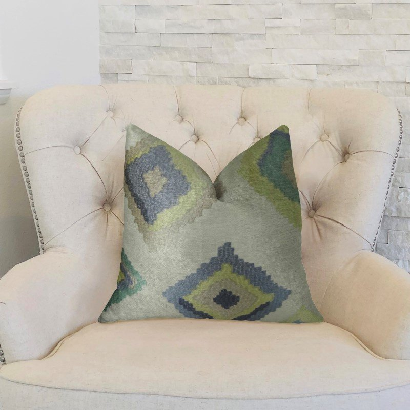 """Plutus Brands White Navy and Lime Handmade Luxury Pillow 20"""" x 30"""" Queen (PBRAZ158-2030-DP)"""