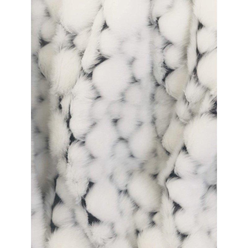 "Plutus Brands White with Black Shades Faux Fur Snow Luxury Throw Blanket 80""L x 90""W Twin XL (PBEZ1663-8090-TC)"