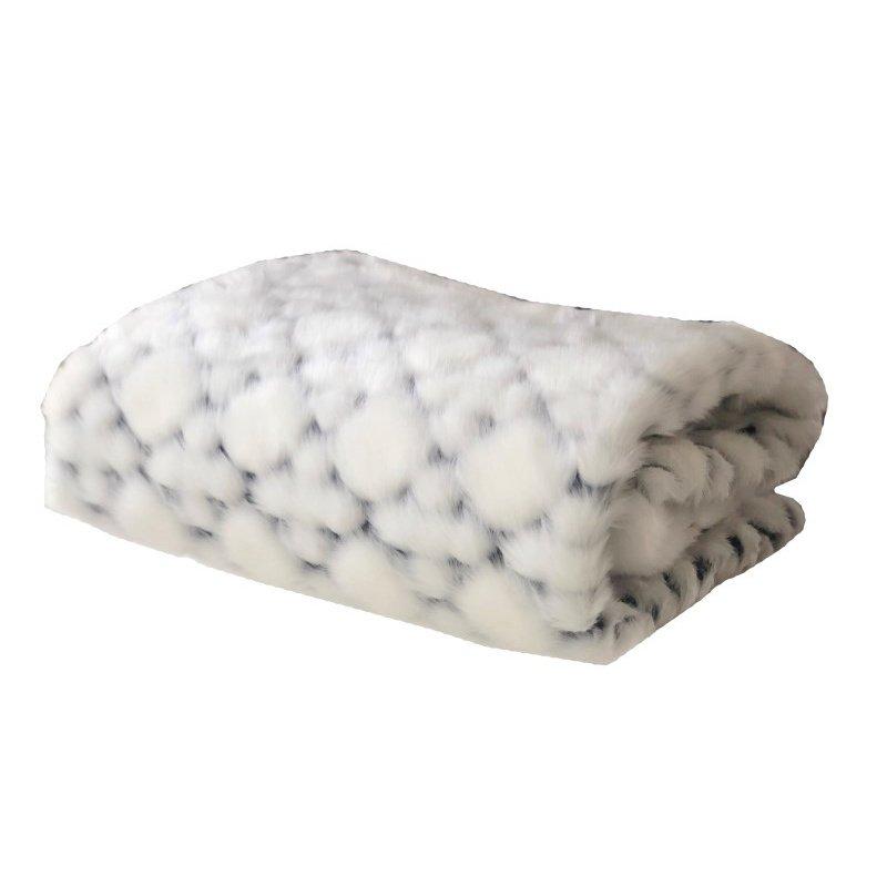 "Plutus Brands White with Black Shades Faux Fur Snow Luxury Throw Blanket 90""L x 90""W Full (PBEZ1663-9090-TC)"