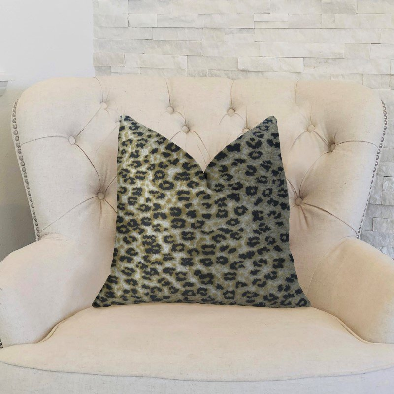 "Plutus Brands Wild Cheetah Taupe and Black Handmade Luxury Pillow 16"" x 16"" (PBRAZ020-1616-DP)"